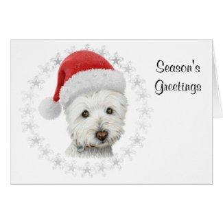 Christmas Westie Dog Art Greeting Card