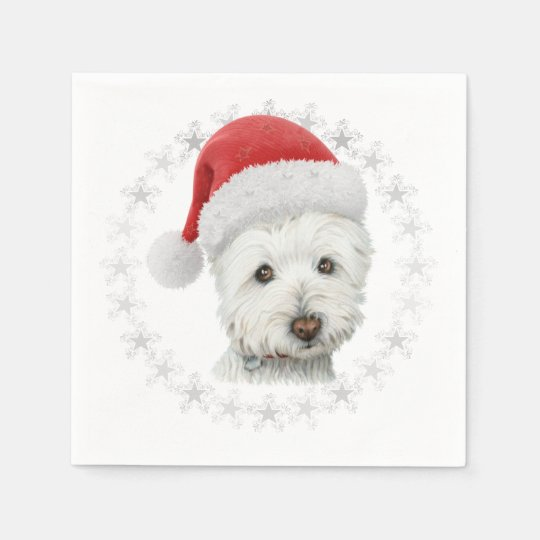 Christmas Westie Dog Art Napkin Disposable Napkin
