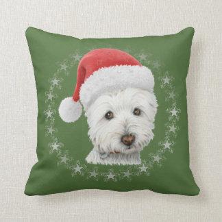Christmas Westie Dog Art Pillow