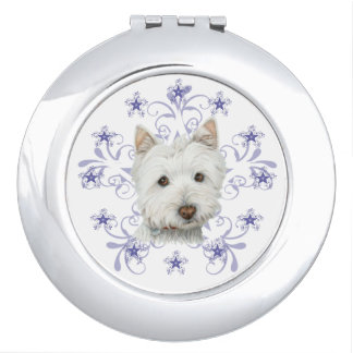 Christmas Westie Dog Art Pocket Mirror Mirrors For Makeup