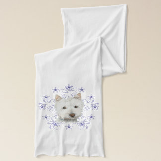 Christmas Westie Dog Art Scarf