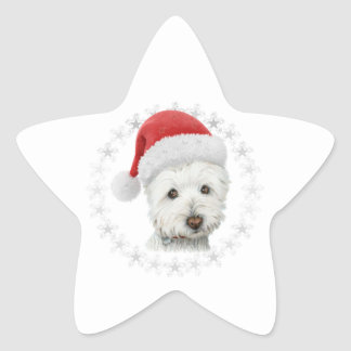 Christmas Westie Dog Art Star Sticker