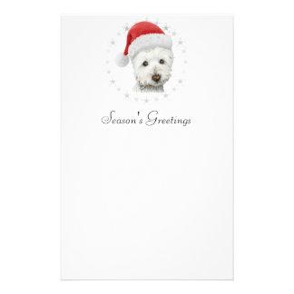 Christmas Westie Dog Art Stationery