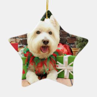 Christmas - Westie - Lucky Ceramic Star Decoration