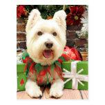 Christmas - Westie - Lucky Postcard
