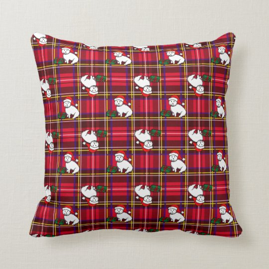 Christmas Westie Plaid Pillow