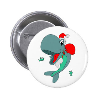 Christmas Whale 6 Cm Round Badge