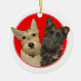 Christmas Wheaten & Black Scotties Christmas Ornament
