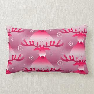 Christmas Whimsical Pink Reindeer Pattern Lumbar Cushion