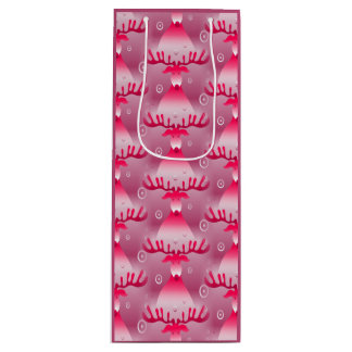 Christmas Whimsical Pink Reindeer Pattern Wine Gift Bag