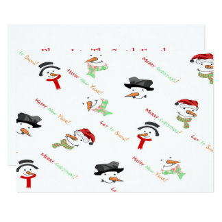 Christmas Whimsical Snowman Pattern Card