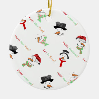 Christmas Whimsical Snowman Pattern Christmas Ornament