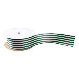 Christmas white and Forest Green Stripped Ribbon Satin Ribbon