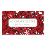 Christmas White and Red Characters Pattern Pack Of Standard Business Cards