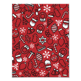 Christmas White and Red Characters Pattern Photo