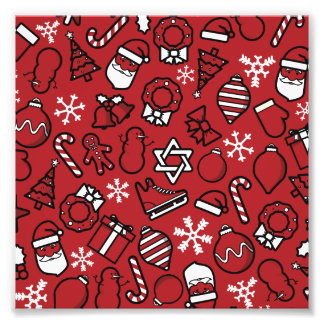Christmas White and Red Characters Pattern Photo Print