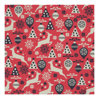 Christmas White Deers and Trees on Pink Pattern Poster