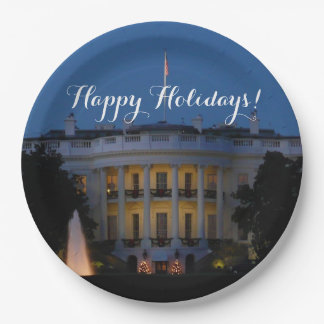Christmas White House at Night in Washington DC Paper Plate