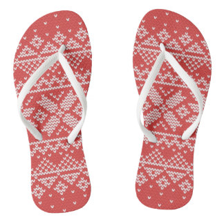 Christmas White & Red Snowflake Knitting Pattern Flip Flops