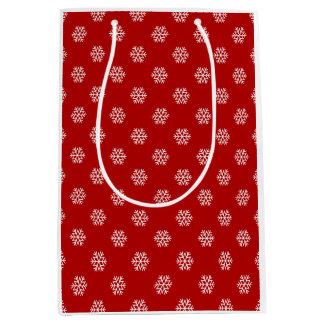 Christmas White Snow Flake on Red Gift Bag