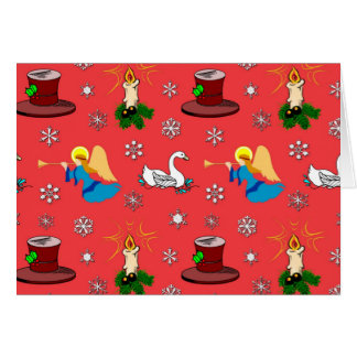 Christmas – White Swans & Brown Top Hats Greeting Card