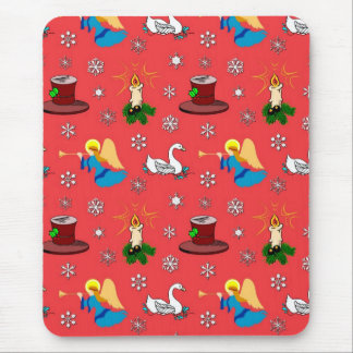Christmas – White Swans Brown Top Hats Mouse Pad