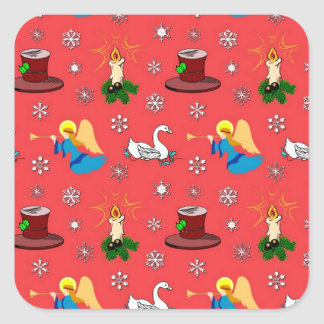 Christmas – White Swans & Brown Top Hats Stickers