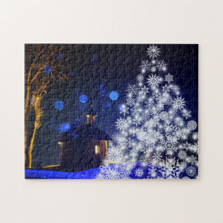 Christmas white tree jigsaw puzzle