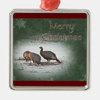 Christmas Wild Turkey in Snowy Field Silver-Colored Square Decoration