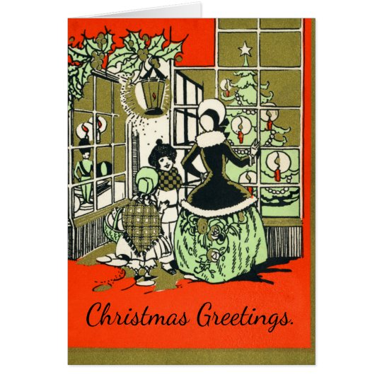 Christmas Window Shopping Retro Holiday Greetings Card