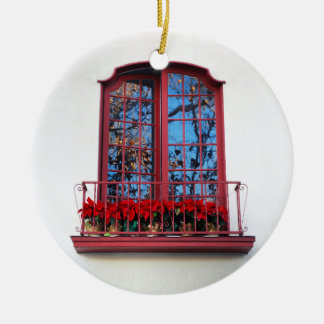 Christmas Window with Poinsettias Ornaments