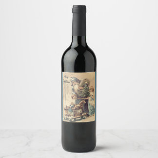 Christmas wine label. Customizable. Vintage. Wine Label