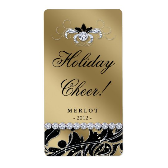 Christmas Wine Label Glitter Leaves Gold Black Shipping Label