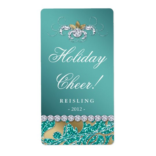 Christmas Wine Label Glitter Teal Leaves Gold 2 Shipping Label