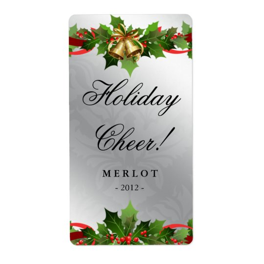 Christmas Wine Label Holly Silver Bells Damask Shipping Label