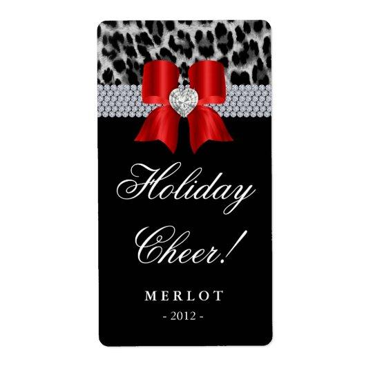 Christmas Wine Label Leopard Diamonds Bow