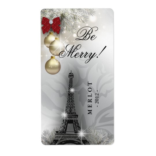 Christmas Wine Label Paris Eiffel Tower Shipping Label