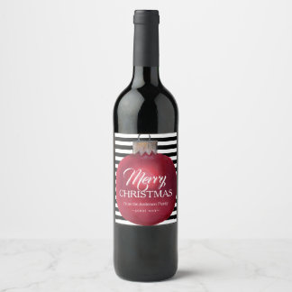 Christmas Wine Labels with Modern Stripes