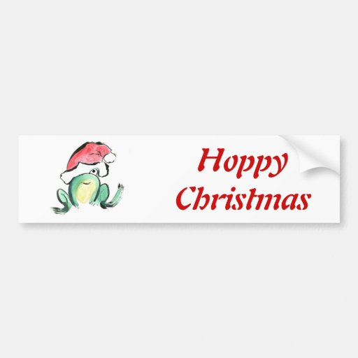 Christmas Winking Froggy Bumper Stickers