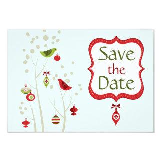 Christmas Winter Birds Wedding Save the Date 9 Cm X 13 Cm Invitation Card