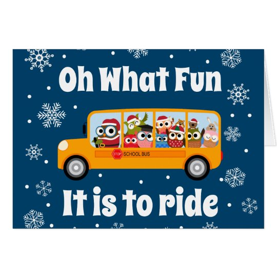 Christmas Winter Bus Driver Aide Thank You Card