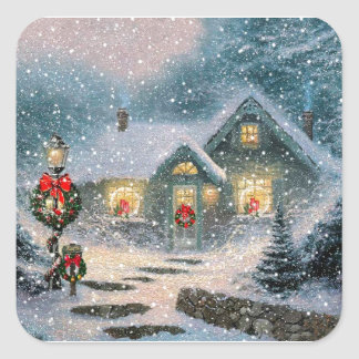Christmas Winter Cottage Square Sticker