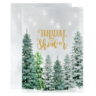 Christmas winter holiday bridal shower snow trees card