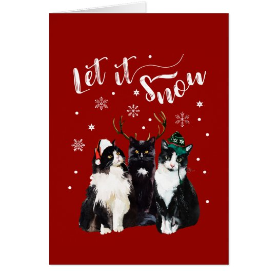 Christmas, Winter. Let it snow. Cats, Watercolor Card