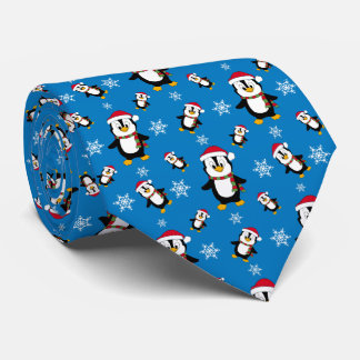 Christmas Winter Penguin on Custom Blue Background Tie