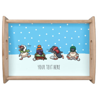 Christmas Winter Penguin Snowball Fight Cartoon Serving Tray