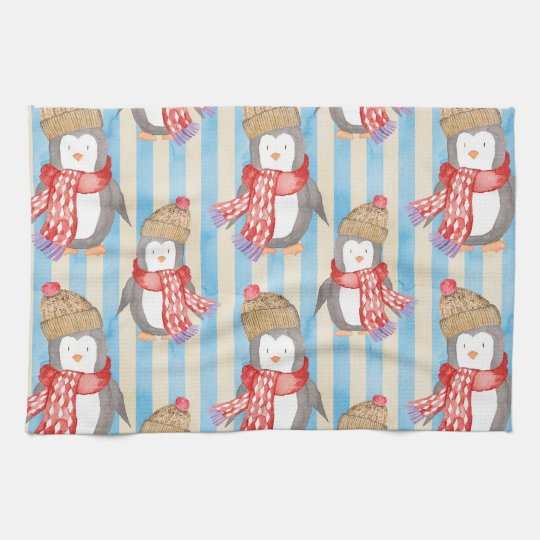 Christmas Winter Penguin Tea Towel