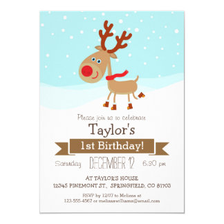Christmas Winter Reindeer, Kid's Birthday Party Card