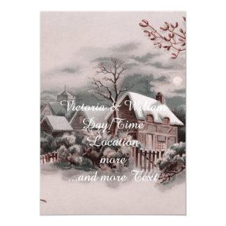 christmas winter scene 13 cm x 18 cm invitation card