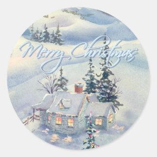 CHRISTMAS WINTER SCENE by SHARON SHARPE Round Sticker